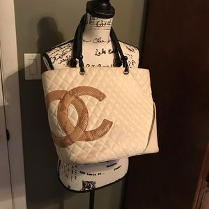 Authentic CHANEL Cambon calf skin white/cobra